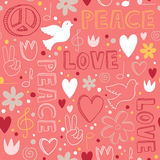 Hand-drawn seamless pattern with symbols of peace Stock Images