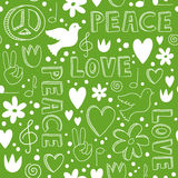Hand-drawn seamless pattern with symbols of peace Stock Image