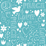 Hand-drawn seamless pattern with symbols of peace Royalty Free Stock Photo