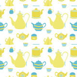 Hand drawn seamless pattern with tea time element Stock Photos