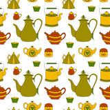 Hand drawn seamless pattern with tea time element Stock Photography