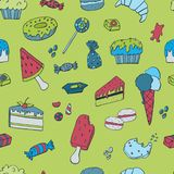 Hand drawn seamless pattern, template with Ice cream, Muffins, Sweets, Candy`s. Vector illustration. Doodles hand drawn sketchy objects. Decorative elements vector illustration