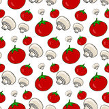 Hand drawn seamless pattern with tomatoes and mushrooms. Vector healthy vegetables. Illustration for menu Stock Photo