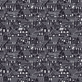 Hand drawn seamless pattern with town houses at night. Hand drawn town at night. Seamless pattern with town houses. Vector background in one color Stock Images