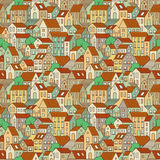 Hand drawn seamless pattern with town houses and trees. Vector colorful background Royalty Free Stock Photos