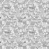 Hand drawn seamless pattern with town houses. Vector background in black and white Royalty Free Stock Photography