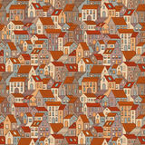 Hand drawn seamless pattern with town houses Royalty Free Stock Photo