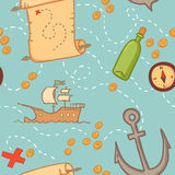 Hand drawn seamless pattern - treasure map. Royalty Free Stock Photography