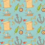 Hand drawn seamless pattern - treasure map. Stock Photo