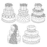 Hand drawn seamless pattern with triple birthday cakes. Vector illustration. Packing for a gift, template for greeting Royalty Free Stock Photo
