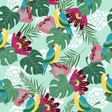 Hand drawn seamless pattern with tropical birds, flowers and leaves on blue background. Vector flat illustration of vector illustration