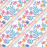 Hand drawn seamless pattern with tropical flowers. Simple naive hand drawn seamless pattern with tropical leaves and flowers on white. Floral stock vector Royalty Free Stock Photography