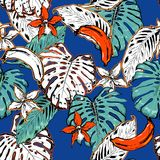 Hand drawn seamless pattern with tropical outline and palm leave. S on electric blue background. Black and white mix with fresh orange colorful line forest Stock Photo