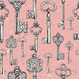 Hand-drawn seamless pattern of various vintage keys. Royalty Free Stock Photo