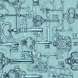 Hand-drawn seamless pattern of various vintage keys. Stock Images