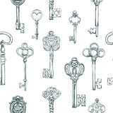 Hand-drawn seamless pattern of various vintage keys. Royalty Free Stock Images