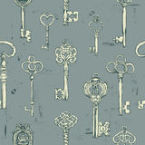 Hand-drawn seamless pattern of various vintage keys. Stock Photography