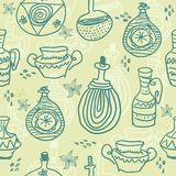 Hand drawn seamless pattern in vector. Hand drawn seamless pattern of vases Stock Images