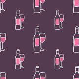 Hand-drawn seamless pattern. Vector illustration. Wine bottle and glass. Doodle style Stock Images