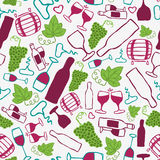Hand-drawn seamless pattern. Vector illustration. Wine theme. Doodle style Royalty Free Stock Image
