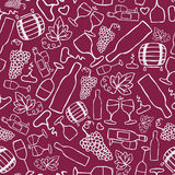 Hand-drawn seamless pattern. Vector illustration. Wine theme. Doodle style Royalty Free Stock Images