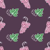 Hand-drawn seamless pattern. Vector illustration. Wine topic - grape ripe and leaf Royalty Free Stock Photo