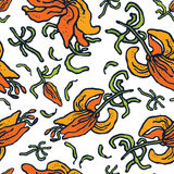 Hand-drawn seamless pattern vector lilies Stock Photos