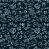 Hand drawn seamless pattern. Vector seafood product design Royalty Free Stock Images