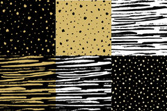 Hand drawn seamless pattern. Vector set of stripe and dots. Golden black style Royalty Free Stock Images