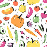 Hand drawn seamless pattern with vegetable. Vector artistic drawing food. Summer illustration red onion, pumpkin, potato Royalty Free Stock Images