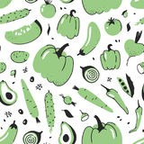 Hand drawn seamless pattern with vegetable. Vector artistic drawing food. Summer illustration red onion, pumpkin, potato Stock Images