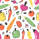 Hand drawn seamless pattern with vegetable. Vector artistic drawing food. Summer illustration red onion, pumpkin, potato Royalty Free Stock Photos