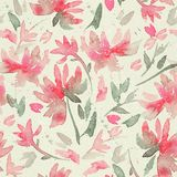 Hand drawn seamless pattern with watercolor loose flowers. Royalty Free Stock Image