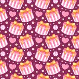 Hand drawn seamless pattern with watercolor pink gift box, heart and candies on white background for holiday and Valentine`s Day