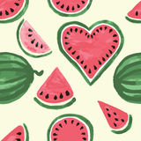 Hand drawn seamless pattern of watermelon wedges. Cute fresh fruits for summer background. Stock Photos