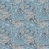 Hand drawn seamless pattern with wave, curl and triangle Stock Images