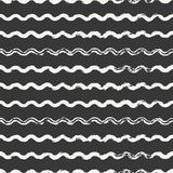 Hand drawn seamless pattern with wavy brush strokes.. Wrapping paper. Abstract vector background. Round brush ink strokes. Casual black, white texture. Doodle Royalty Free Stock Photography