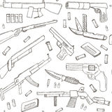 Hand drawn seamless pattern with Weapons. Royalty Free Stock Photos