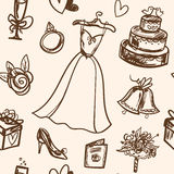 Hand drawn seamless pattern wedding accessories. Stock Photography