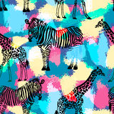 Hand drawn seamless pattern with zebra and giraffe. Royalty Free Stock Image