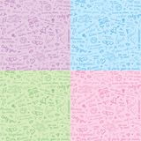 Hand drawn seamless patterns Stock Photos