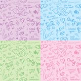 Hand drawn patterns, vector eps 10. Hand drawn seamless patterns with inscriptions about love, vector eps 10 stock illustration