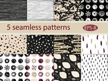 Hand drawn seamless patterns set. 12 grunge vector texture. Hand drawn seamless patterns set. Grunge vector texture Royalty Free Stock Photography