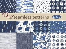 Hand drawn seamless patterns set. 12 grunge vector texture. Hand drawn seamless patterns set. Grunge vector texture Stock Photography