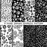 Hand drawn seamless patterns set. Grunge vector texture Stock Photo