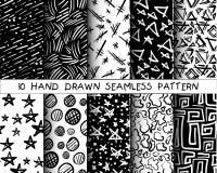 Hand drawn seamless patterns set. Grunge vector texture Stock Image