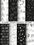 Hand drawn seamless patterns set. Royalty Free Stock Photos