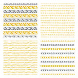 Hand drawn seamless patterns Stock Images