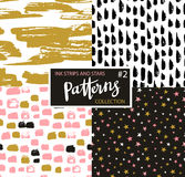 Hand drawn seamless patterns. Vector hipster backgrounds with ink strokes and stars. Royalty Free Stock Photography