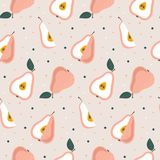 Hand drawn seamless pear pattern. Background with fruits. Hand drawn seamless pear pattern. Repetitive simple vector background with fruits stock illustration